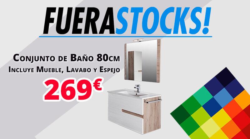 Conjunto de baño de 80cm compuesto por mueble, lavabo y espejo
